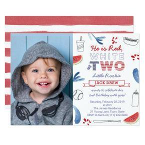 Little Rookie Baseball 2nd Birthday Patriotic Invitation