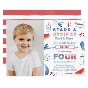 Little Rookie Baseball 4th Birthday Party Picture Invitation