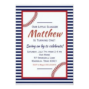 Little Slugger Baseball Birthday Invitations