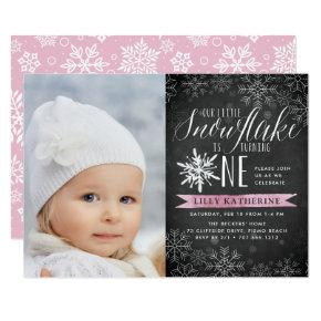 Little Snowflake First Birthday Party Photo Invitation