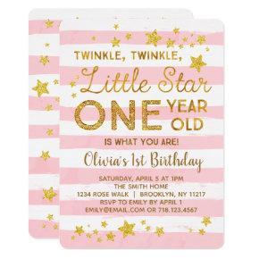 Little Star 1st Birthday Invitation Pink Gold