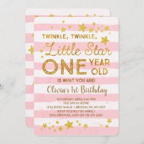 Little Star 1st Birthday Invitation Pink Gold