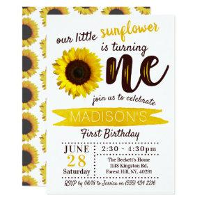 Little Sunflower 1st Birthday Invitation