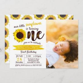 Little Sunflower 1st Birthday Photo Invitation