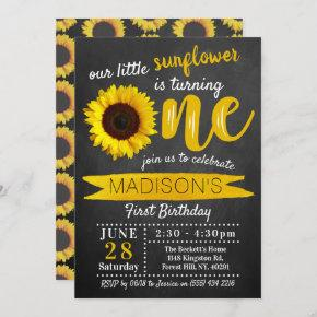Little Sunflower Chalkboard 1st Birthday Invitation