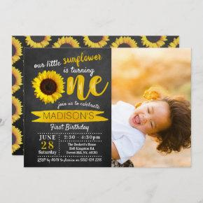 Little Sunflower Chalkboard 1st Birthday Photo Invitation
