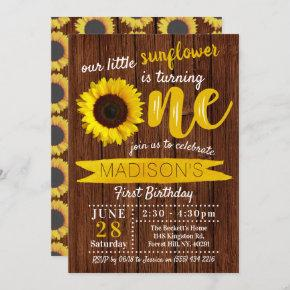 Little Sunflower Rustic Wood 1st Birthday Invitation