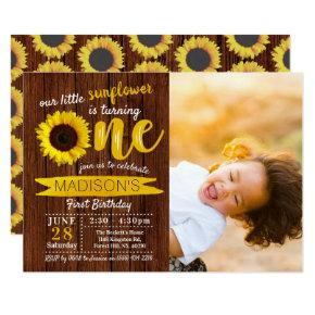 Little Sunflower Rustic Wood 1st Birthday Photo Invitation