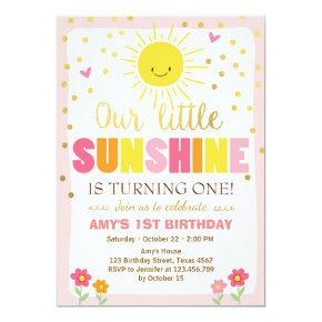 Little sunshine Birthday Invitations Pink Gold Girl