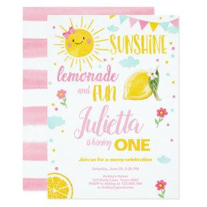 Little Sunshine Lemonade Pink Girl Lemon Birthday Invitation