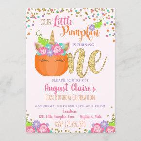 Little Unicorn Pumpkin Fall Birthday Invitation