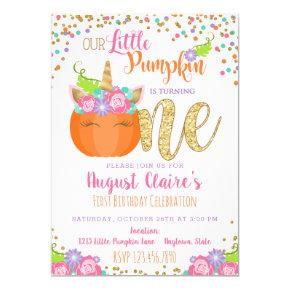 Little Unicorn Pumpkin Fall Birthday Invitation