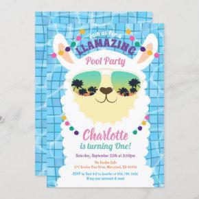 Llama Alpaca Pool Party Kids Birthday Invitation