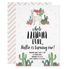 LLama and Cactus 1st Birthday Party Invitation