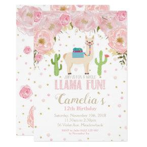 Llama Birthday Invitation Blush Floral Teen Girl