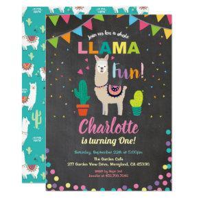 Llama birthday invitation. fun girl first 1st bday invitation