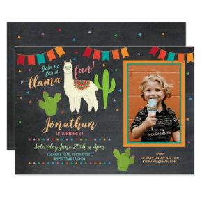 Llama Birthday Party Cactus Girl's Photo Invite