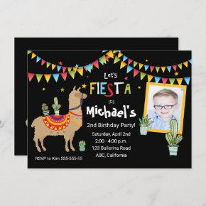 llama Cactus photo personalized birthday party Invitation