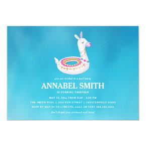 Llama Float Birthday Pool Party Invitation