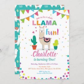 Llama fun birthday invitation. Girl first 1st bday Invitation