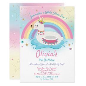 Llama Pool Party Birthday Invitation Girls