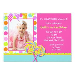Lollipop Sweet Shoppe Birthday Party Invitations