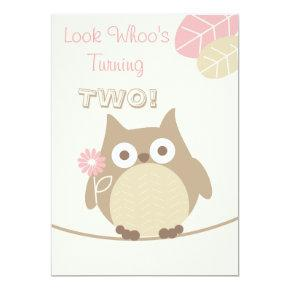 Look Whoo's Turning Two Baby Girl Birthday Invitations