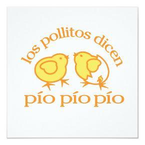 Los Pollitos Dicen Party Invitation