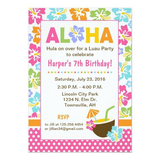 Luau Birthday Invitations Candied Clouds