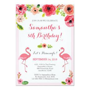 Luau Birthday Invitations, Flamingo Birthday Invite