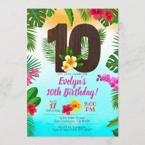 Luau Birthday, Invitation Luau Party 10th Birthday