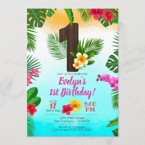 Luau Birthday, Invitation Luau Party 1st Birthday