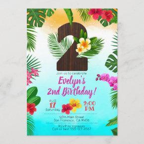 Luau Birthday, Invitation Luau Party 2nd Birthday