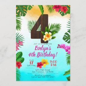Luau Birthday, Invitation Luau Party 4th Birthday