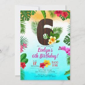 Luau Birthday, Invitation Luau Party 6th Birthday