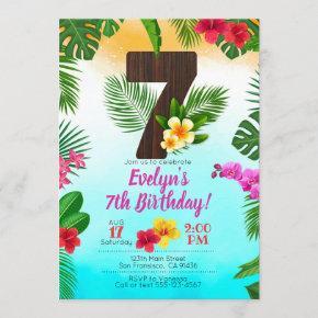 Luau Birthday, Invitation Luau Party 7th Birthday