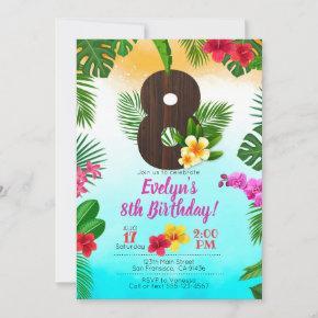 Luau Birthday, Invitation Luau Party 8th Birthday