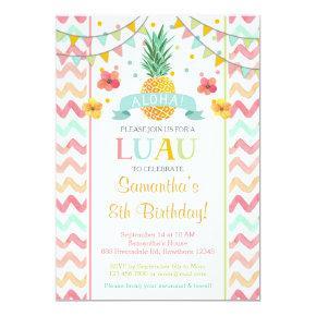 Luau Birthday Invitation, Pineapple Invitation