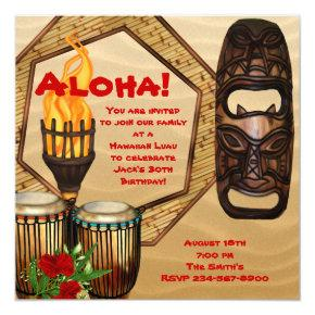 Luau Birthday Party Hawaiian Luau Party Invitations