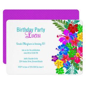 Luau Birthday Party Purple Hibiscus Swag Invitations