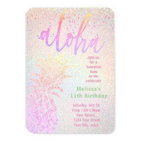 luau faux colorful glitter pineapple birthday invitation