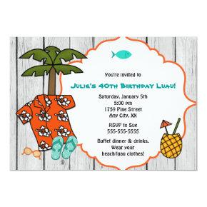 Luau Hawaiian Birthday Party beach celebration Invitations