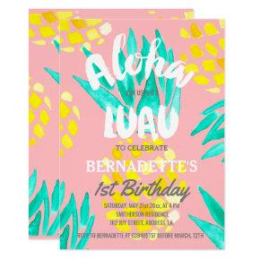 Luau party Aloha pineapples first Birthday Invitations