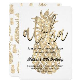 luau party golden pineapple invitation