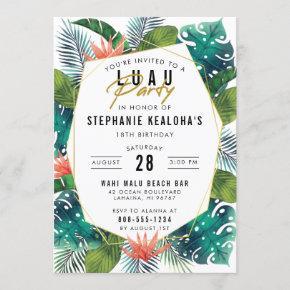 Luau Party Modern Gold Tropical Hawaiian Birthday Invitation