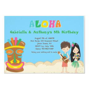Luau Party With Boy &Girl Tiki Birthday Invitation