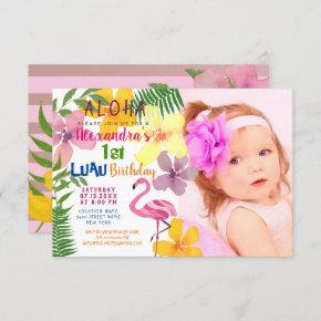 Luau Photo 1st Birthday Invitation