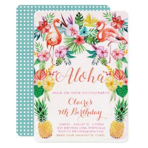 Luau Tropical Birthday Invitation