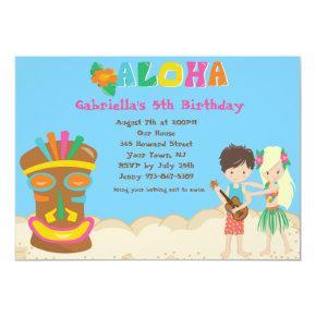 Luau With Kids and Tiki Birthday Invitations