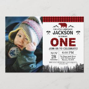 Lumberjack 1st Birthday Invitation Bear Woodland
